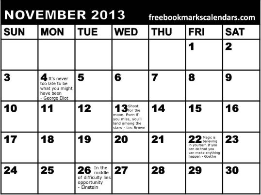 2CA2 Monthly Planner 2013 November