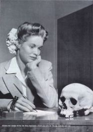 "May 22, 1944 Life Magazine Picture of the Week, ""Arizona war worker writes her Navy boyfriend a thank-you-note for the Jap skull he sent her"" Image via Wikipedia"