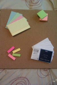 Corkboard, check. Post-its, check. Index cards, check.